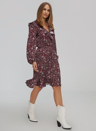 People By Fabrika Desenli Volanlı Yaka Detaylı Elbise Bordo